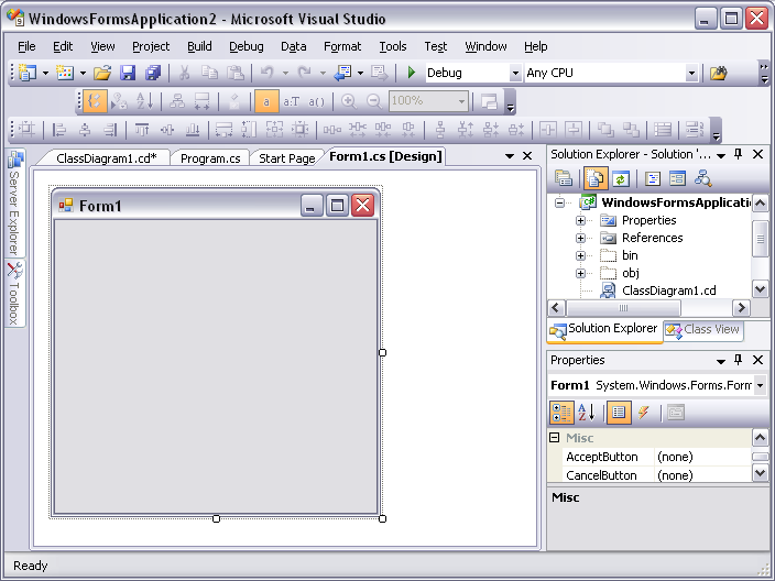 Как создать windows forms в visual studio 2013